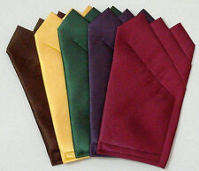 Deep Color Satin POCKET SQUARES Square folded & sewn