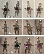 Boy or Girl Birthstone Charms .925 Sterling Silver 3-D
