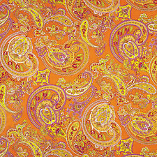 "GLOSSY SATIN COTTON BED CLOTH DUVET COVERING FABRIC ORIENTAL PAISLEY ORANGE 44""W"