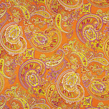 """GLOSSY SATIN COTTON BED CLOTH DUVET COVERING FABRIC ORIENTAL PAISLEY ORANGE 44""""W"""