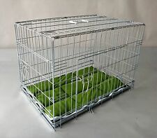 Folding Dog Puppy Cat Crate Cage Carrier Kennel, Galvanized, Anti-Rust,+Tray+Bed