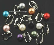 1 Pair Silvertone Clip On Faux Pearl Round Stud Earrings for Non-Pierced Ears