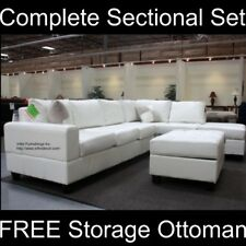MODERN Black White Leather Sectional Sofa Couch Set F73