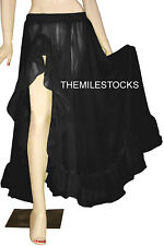 TMS Black Ruffle Slit Full Circle Skirt BellyDance BOHO