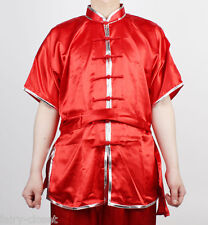Wushu KungFu Uniform ChangQuan Uniforms Taichi Kung Fu Chinese RED Silver trim