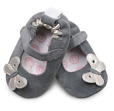 New Shooshoos Baby Leather shoes - all sizes, 0-2 yrs - silver butterfly - grey