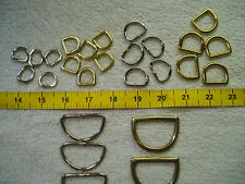 'D' Rings (x5) Various Sizes Chrome & Solid Brass