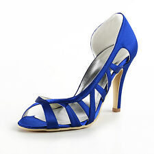 EP2010 Blue Women Peep Toe Cutout Party Sandals High Heel Satin Wedding Shoes