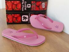 UK 4 CUSHE REFLEX STRAWBERRY  PINK TOE POST FLIP FLOP BEACH SANDAL