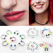 SET/LOT 16g/14g Stripe Circular Barbells Horseshoes Acrylic Steel Helix Ear Ring