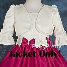 Ivory Beaded Satin Bolero Jacket Wedding Flower Girl Bridesmaid Party 2-12y #001