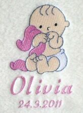 Personalised Embroidered Cute Baby Girl Design Blanket Birth/Christening Gift