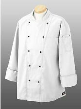 NWT Dickies CW070302 Black Stitch Executive Chef Coat 34-54 WHITE Twill Stretch