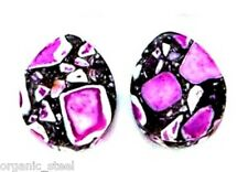 PURPLE Crazy Agate TEARDROP Ear Plug gem stone Double flared 7 sizes 3mm-12mm