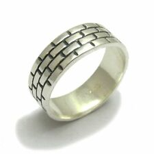 STERLING SILVER RING BAND BRICKS SOLID 925 NEW SIZE G - V