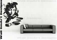 Abstract Indian Ink Lady Wall Sticker bedroom kitchen living room mural decal