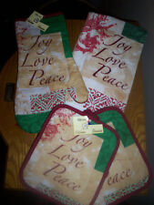 JOY LOVE PEACE KITCHEN DISH TOWEL, QUILTED POTHOLDERS OR OVEN MITT Inspritional