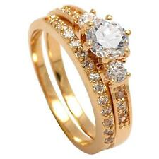New 18ct Gold Filled Engagement/Wedding Ring Set with  Cubic Zirconia