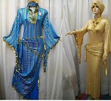 EGYPT GALABEYA,BELLY DANCE,ABAYA SAIDI,BALADI,SEXY DRESS & 2 SCARF-135 CM LENGTH