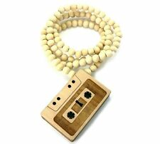 "CASSETTE TAPE Good Quality Wood Pendant & 36"" Wooden Ball Chain Necklace -WJ115"