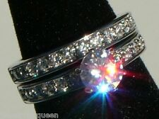 1.69 ctw CZ Cubic Zirconia Engagement Wedding Rings set 18K White Gold Plated