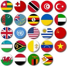 "WORLD FLAGS Various 25mm, 1"" Button Badge, T to Z"