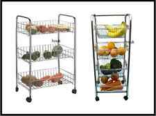 3/4 TIER TROLLEY CHROME VEGETABLE FRUIT KITCHEN STORAGE RACK CART WITH WHEELS