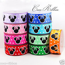 "10 Yards 1.5"" 38mm Polka Dot Bow Minnie Mouse Grosgrain Ribbon - 9 Colors"