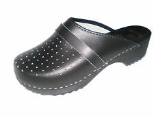 Genuine Black Leather Wooden Sole Swedish style Clogs womens/mens all sizes WH