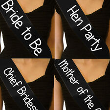 CHEAP BASIC HEN PARTY NIGHT DO SASH BRIDE TO BE MAID OF HONOUR BRIDESMAID *BLACK