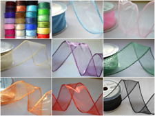 50mm wired organza ribbon full rolls or choose lengths 22 colours