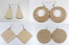 WOODEN EARRINGS 100% of Natural Wood, Ideal for Decoupage,  PERFECT QUALITY