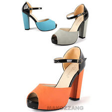 Womens Shoes High Heels Mary Janes Open Toe Strappy Pumps Platforms US 5-7.5 sz