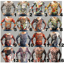 Fake Tattoo T-shirt Top Body Long Sleeve Stretch Skull Dragon Tribal Fancy Dress