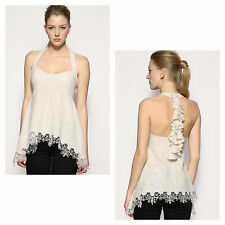 Karen Millen Stone Cream Halterneck Silk Lace Embroidered Evening Party Top 6-14