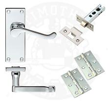 Victorian Scroll Latch Door Handles Hinges & Latches Polished Chrome Packs