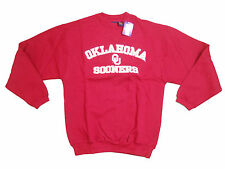 OKLAHOMA SOONERS ADULT EMBROIDERED RED V-NOTCH CREW SWEATSHIRT NEW