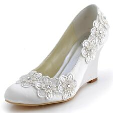 WP1416 Ivory Women Wedges Closed Toe Pumps Appliques Satin Wedding Bridal Shoes