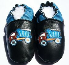 Moxiesbabyshoes TRUCK soft soled leather boys baby shoes toddler 0-6 TO 6-7 yrs