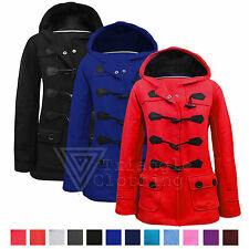 Ladies Womens Hood Hooded Duffle Trench Pocket Coat Jacket 8 10 12 14 16 18 20