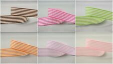 5yds~~25mm Stripe Printed White Grosgrain Ribbon 9 Colours U PICK