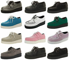 Ladies Unisex Platform Lace Up Punk Shoes Women Flat Goth Brothel Stud Creepers