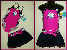 GIRLS TOGS + SKIRT Sz 6 7 8 or 9 - Pink & Floral SWIMWEAR Bathers - 2 pc Set NEW