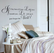 "Vinyl Wall Art  Quote Wall Sticker Decal"" IF I LAY HERE SNOW PATROL"" graphics a2"
