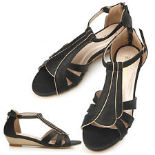New Limited Ankle Strap Black Low Heels Black Womens Comfort Sandle Shoes