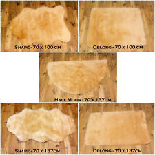 SOFT FLUFFY PLAIN WASHABLE BEIGE CREAM COLOUR FAKE FAUX FUR SHEEPSKIN RUGS