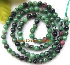Smooth round natural Ruby Zoisite Gemstone Beads 15""