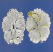 Hawaiian 925 Sterling Silver Hibiscus Flowers Clip Post Stud C Zirconia Earrings