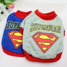 Dog Cat Puppy Clothes Warm Shirt SUPERMAN Gray Blue For SMALL Pet XS, S, M,  L