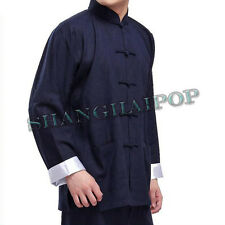 Chinese Kung Fu Suit Wing Chun Martial Art Jacket Tai Chi Uniform Black/Blue Men